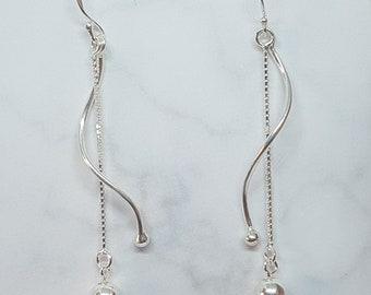 Sterling Silver Spiral Ball Drop Earrings