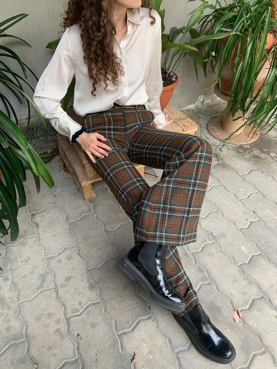 Vintage trousers, classic pants, plaid trousers, b