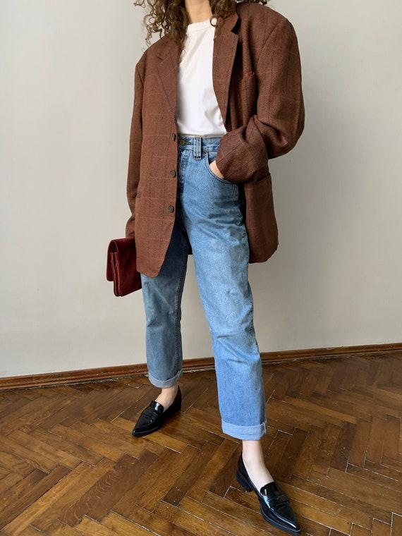 Oversized wool jacket, women's vintage blazer, che