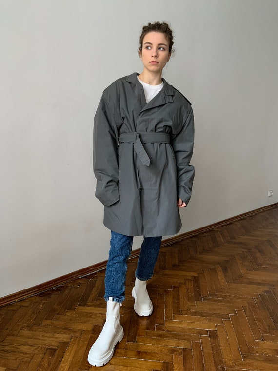80s oversize trench  80s gray rain coat with shoulder pads  80s double breasted trench