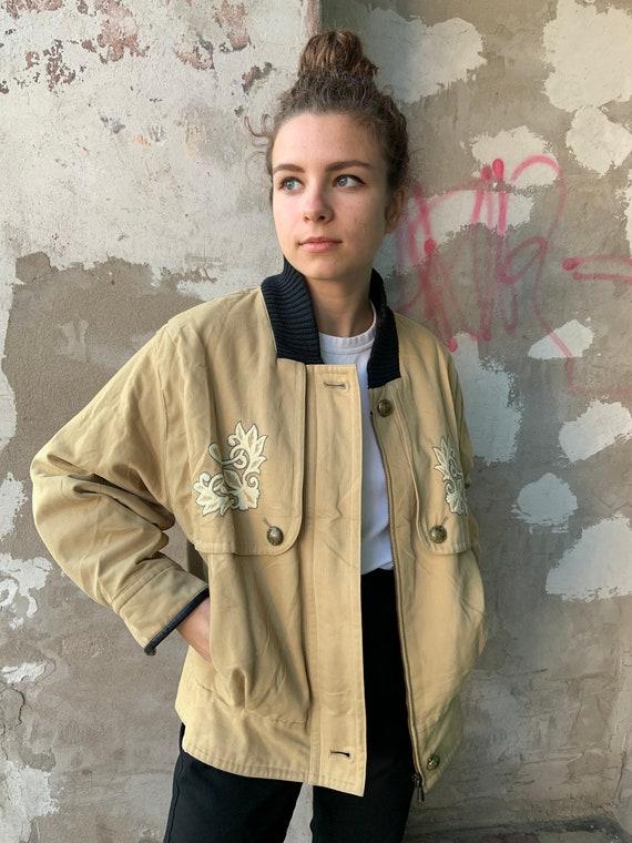 Vintage jacket, Oversized jacket, Beige Bomber Jac