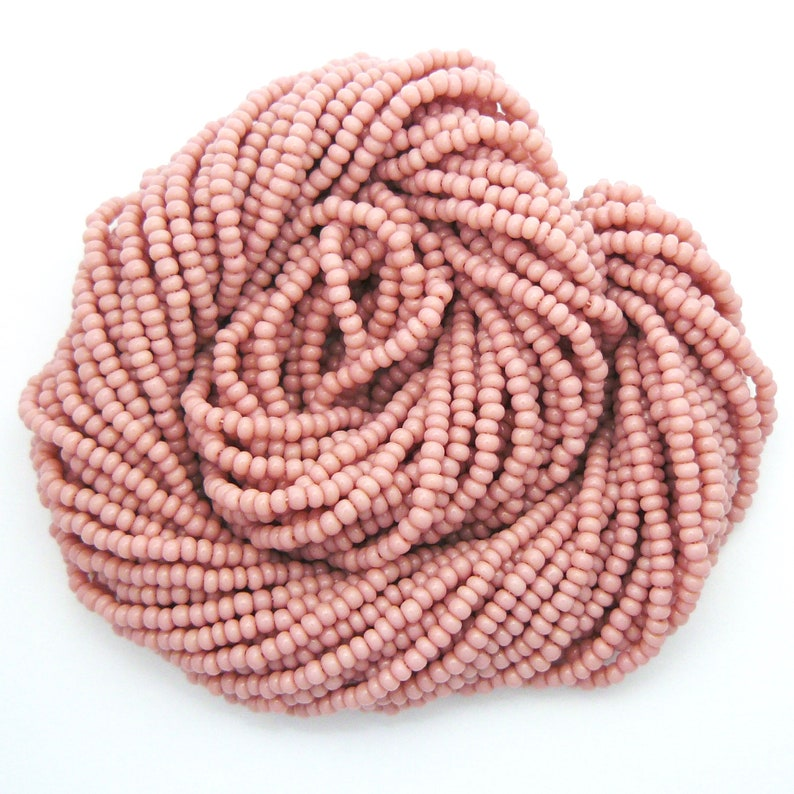 CHEYENNE PINK Size 120 Vintage Czech Seed Beads Colorfast Opaque Glass Seed Beads Rocailles Full or Half Hank