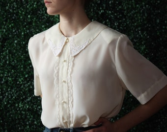 60s Vintage Off White Sheer Embroidered Floral Blouse size 12
