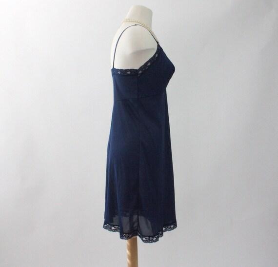 Vintage 1970s Slip Dress | Navy Blue Slip Dress |… - image 3
