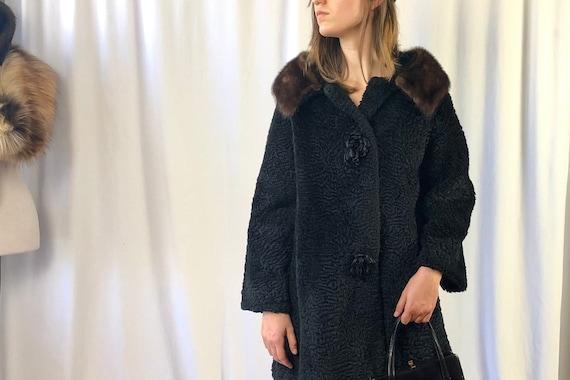 Ladies vintage jacket..Astrakhan trimmings