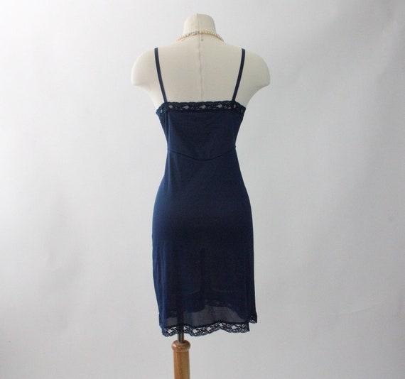 Vintage 1970s Slip Dress | Navy Blue Slip Dress |… - image 5