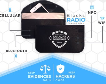 Issued Worldwide - Extra Large Signal Blocking Faraday Case Case   Anti-hacking   Anti-Spying + Velcro Clasp