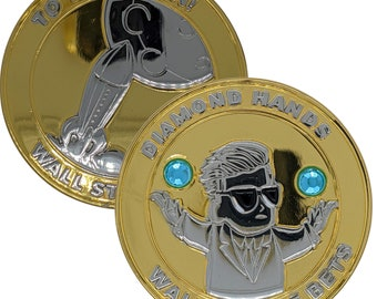 Crafted AMC GME Wall Street Bets Diamond Hands   To The Moon Golf Ball Marker