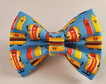 Picnic Dog Bowtie-Camping Dog Bowtie-Hot Dog bowtie-Hamburger Bowtie-Christmas Present-Holiday Dog Gift-Dog Accessories-Collar Bow Tie