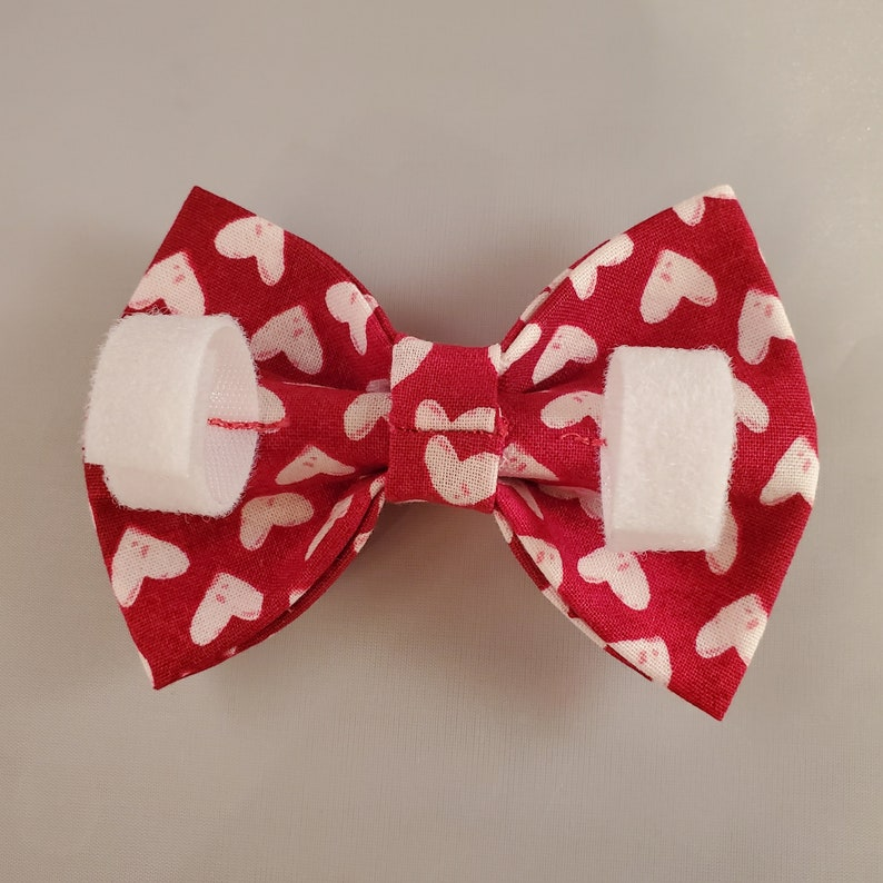Valentines Day Dog Bow Tie-Red Dog Bowtie with White Hearts-Hearts Dog Bow Tie-Pet Bow Tie-Dog Accessories-Collar Bow Tie