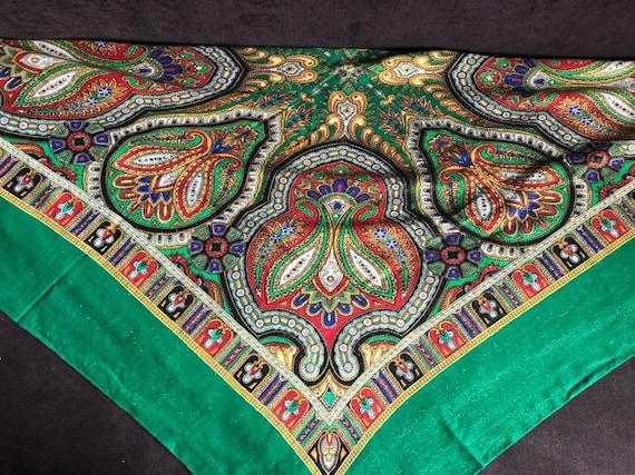 big green VINTAGE Shawl lurex,Floral shawl,wool s… - image 2