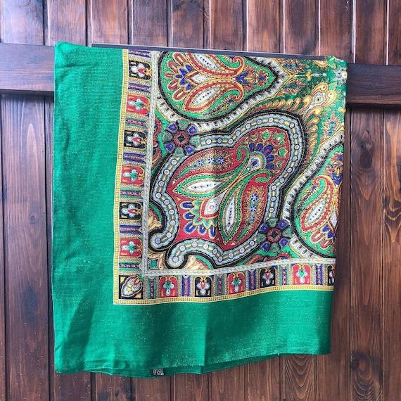 big green VINTAGE Shawl lurex,Floral shawl,wool s… - image 5