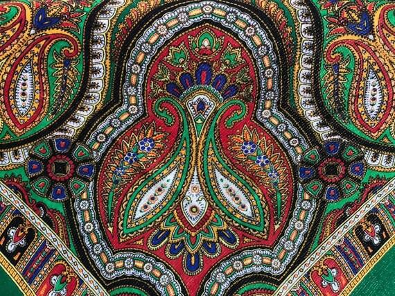 big green VINTAGE Shawl lurex,Floral shawl,wool s… - image 7