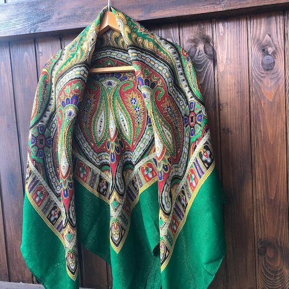 big green VINTAGE Shawl lurex,Floral shawl,wool s… - image 4