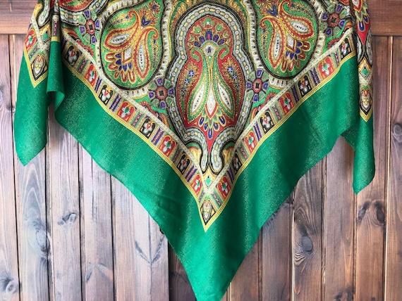 big green VINTAGE Shawl lurex,Floral shawl,wool s… - image 1
