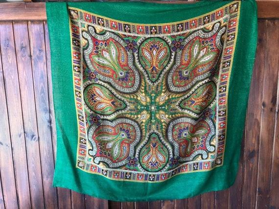big green VINTAGE Shawl lurex,Floral shawl,wool s… - image 9