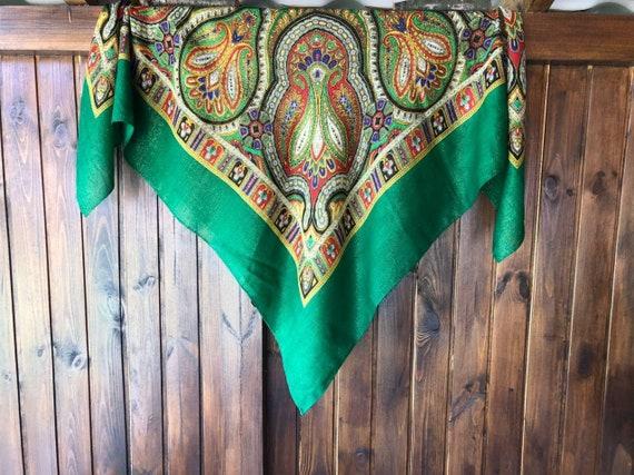 big green VINTAGE Shawl lurex,Floral shawl,wool s… - image 8