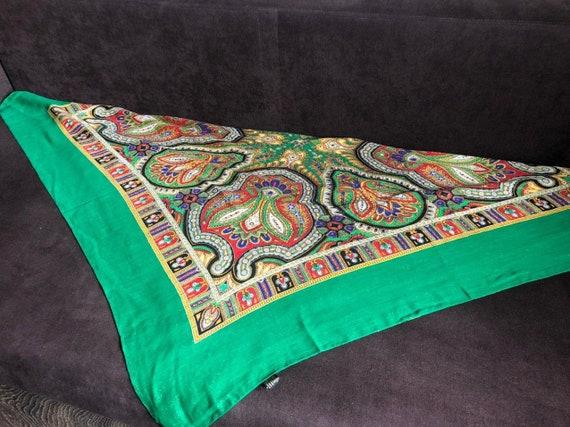 big green VINTAGE Shawl lurex,Floral shawl,wool s… - image 6