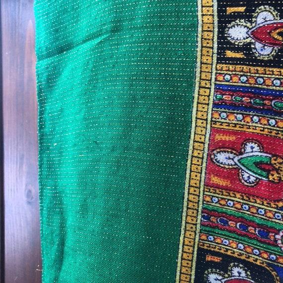 big green VINTAGE Shawl lurex,Floral shawl,wool s… - image 3