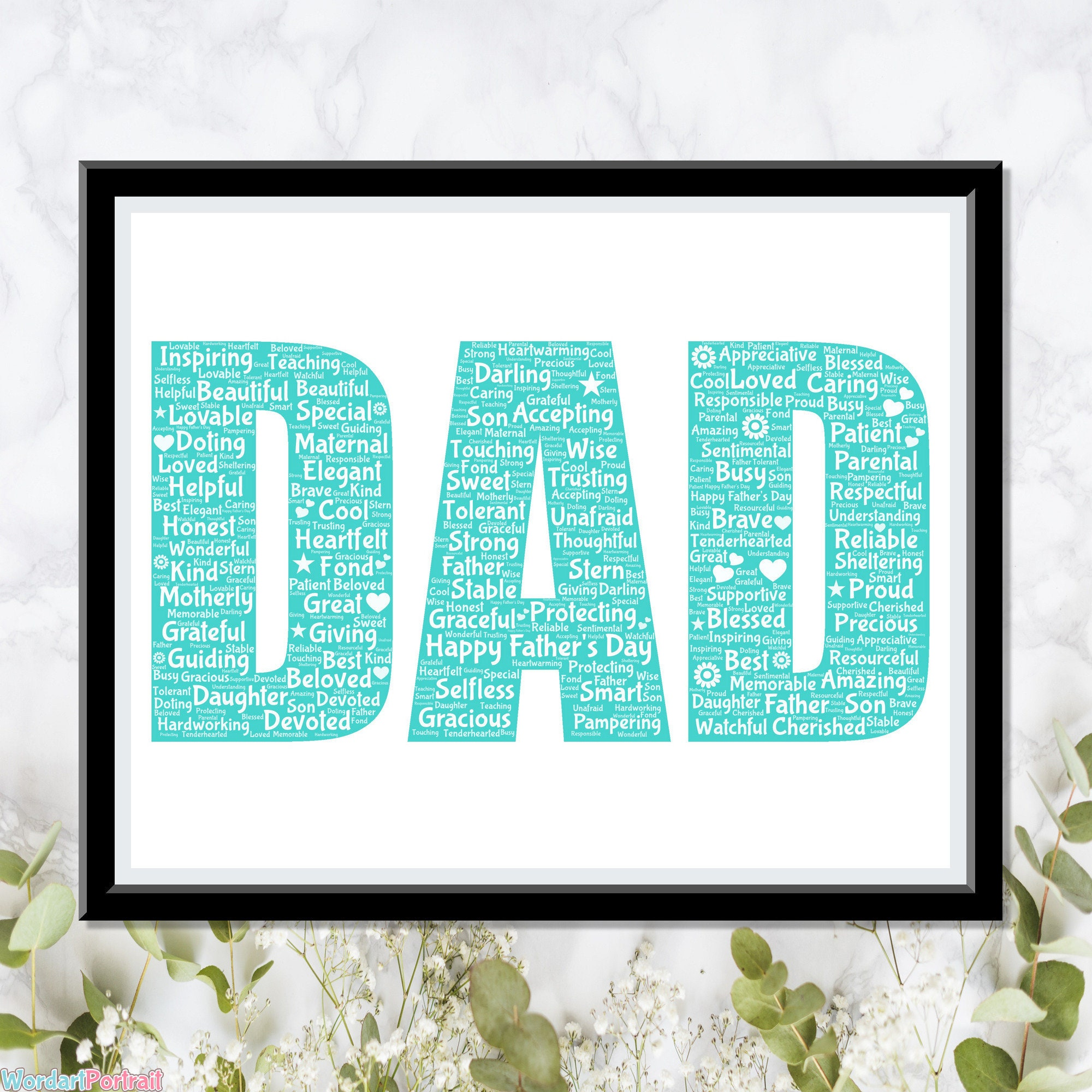 Personalized Fathers Day Gifts - Word Art Wall Print - Dad Letters Gifts Wall Decor Custom Word Cloud Wall Art