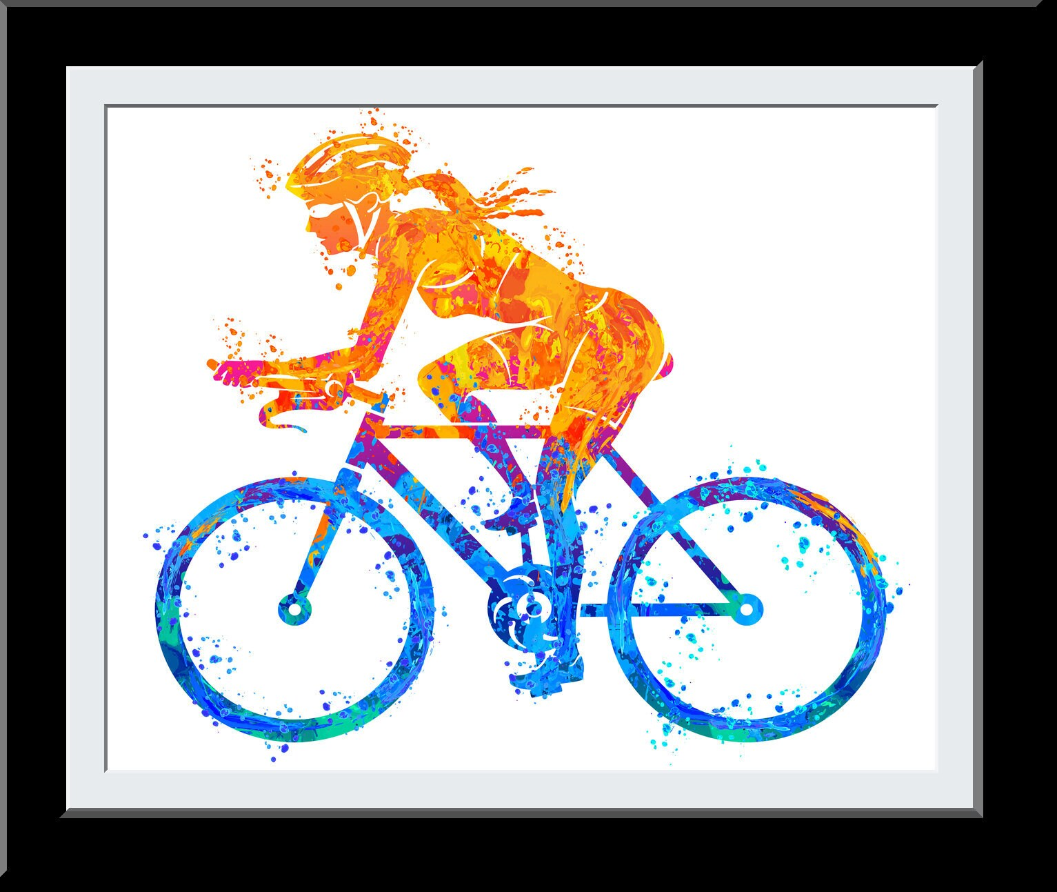 Cyclist Gift for Her - Female Bicycle Riding WaterColor Print -Gift for Girls- Fire+Water Elemental Digital Painting -  - Wall Art