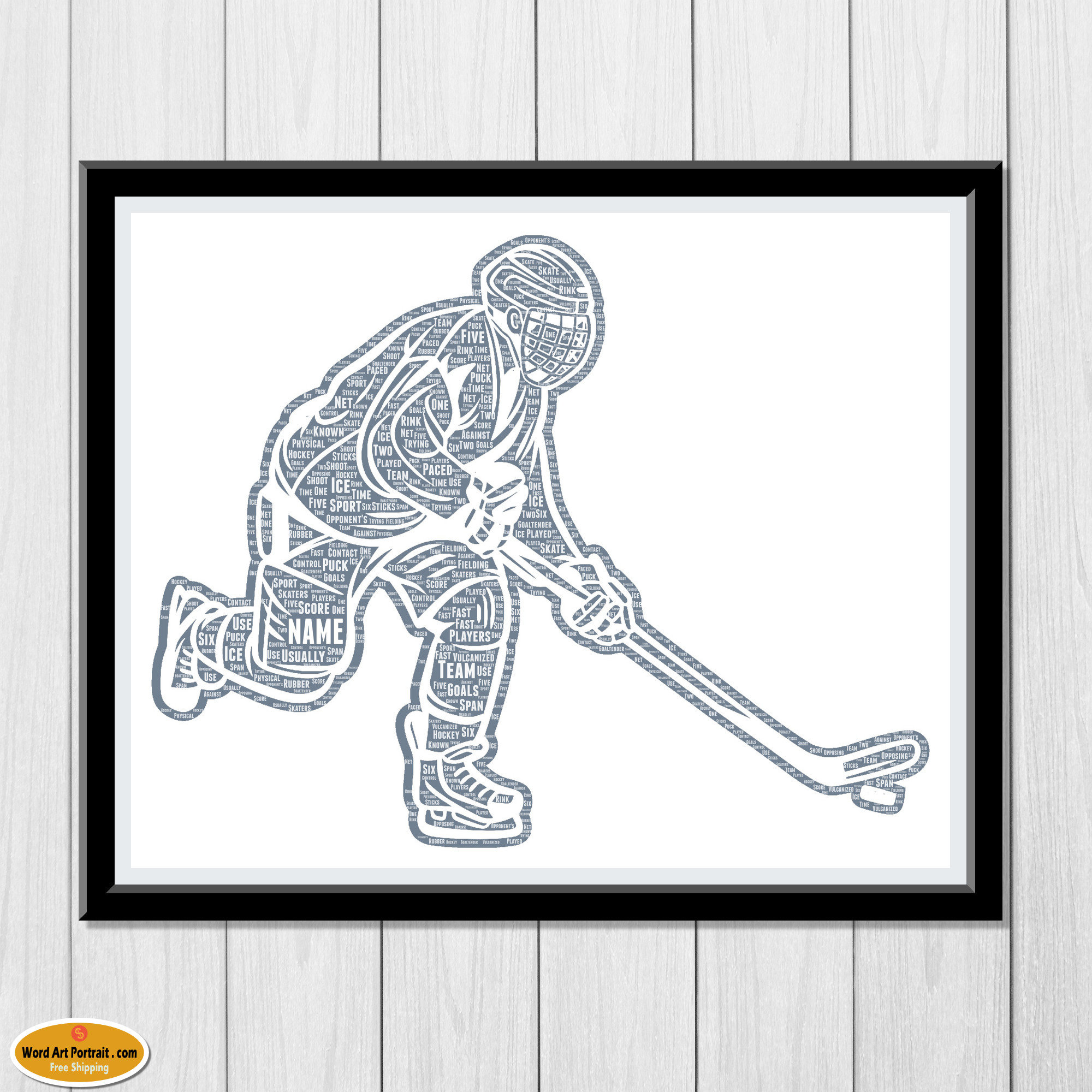 Personalized Hockey Gifts - hockey Wall decor - Ice Hockey Gift - For Son- Dad- Uncle Brother Husband - Word Wall Art Room Personalised Prints