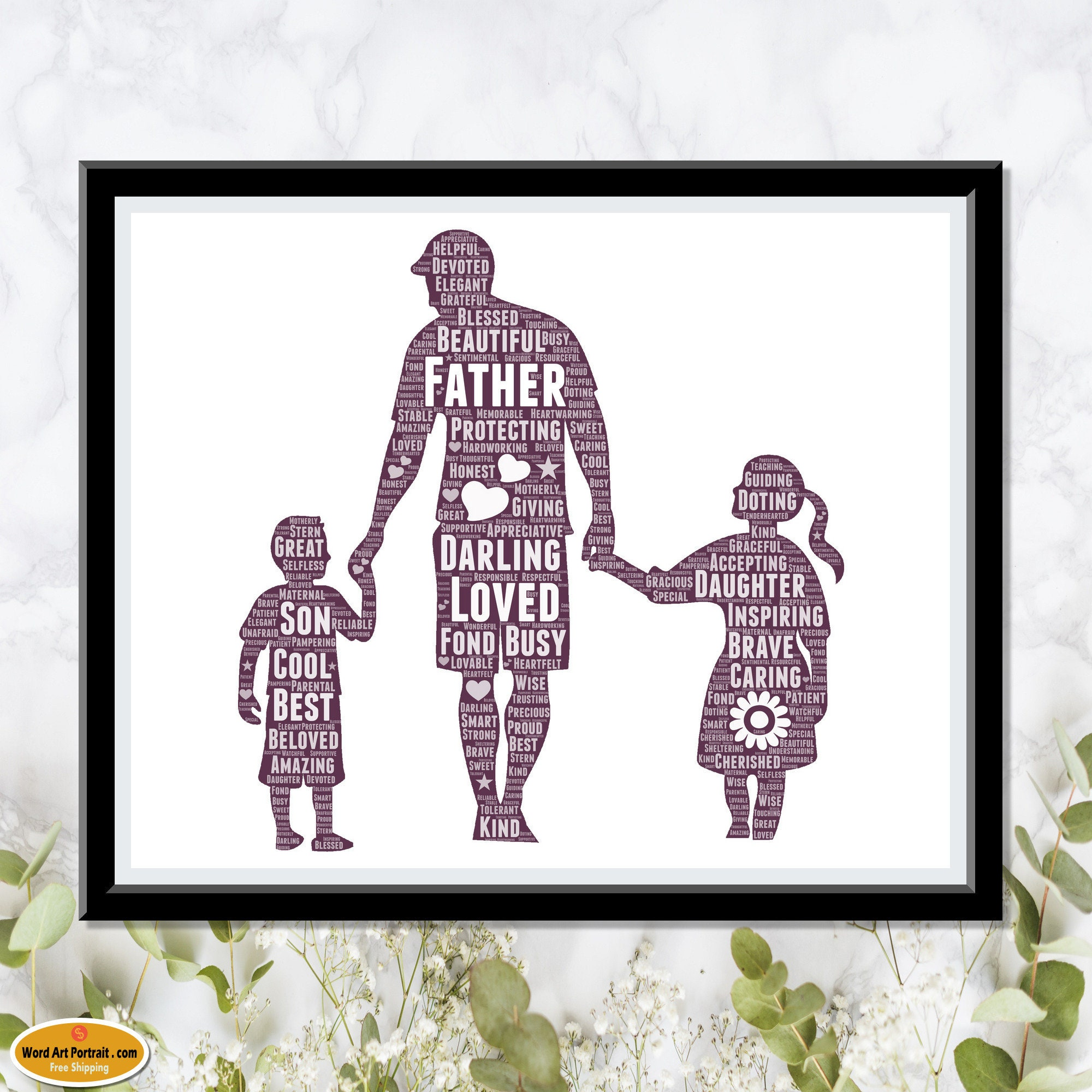 Happy Fathers Day Gift - Personalized Word Art Print for Dad - Gift from Son - Gift from Daughter - Custom Wall Decor