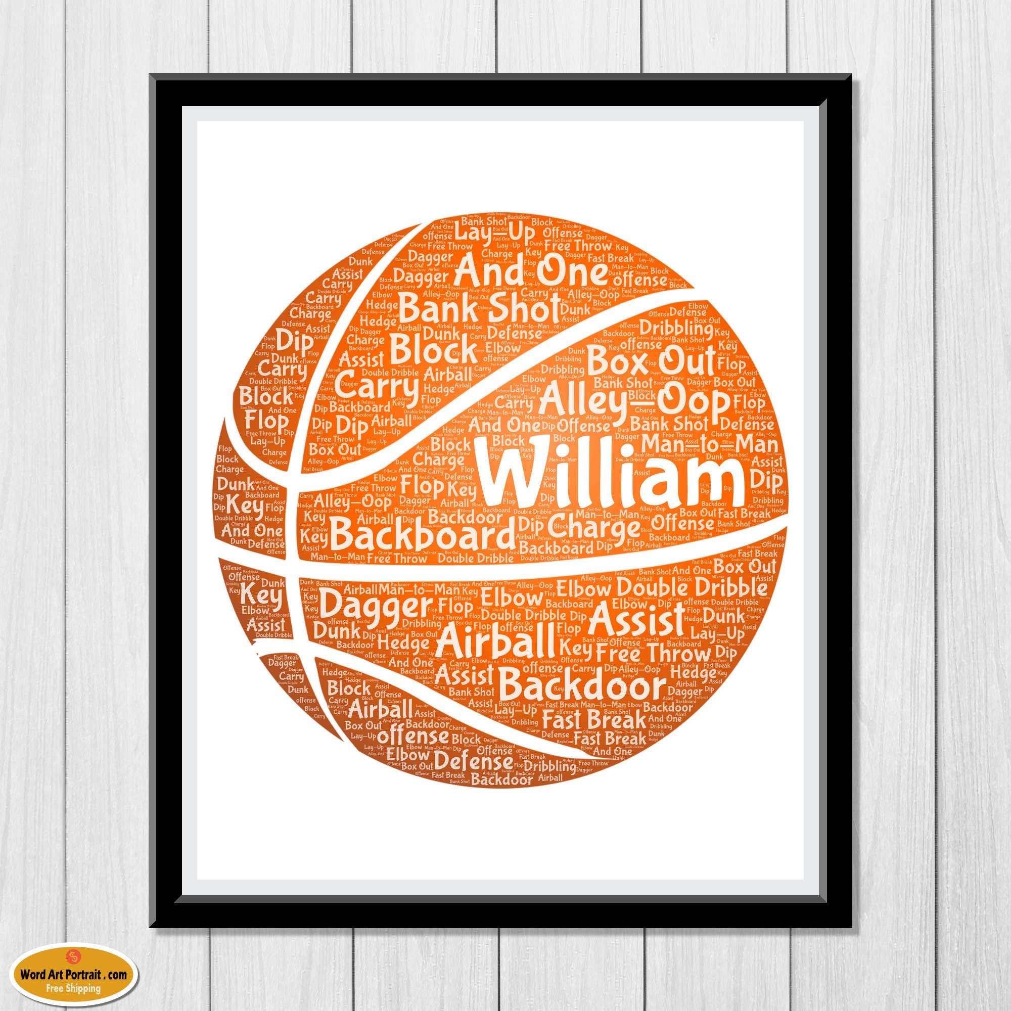 Personalized Basket ball Gifts for men - basket ball Wall Art- Decor - For Dad- Son- Brother- Him