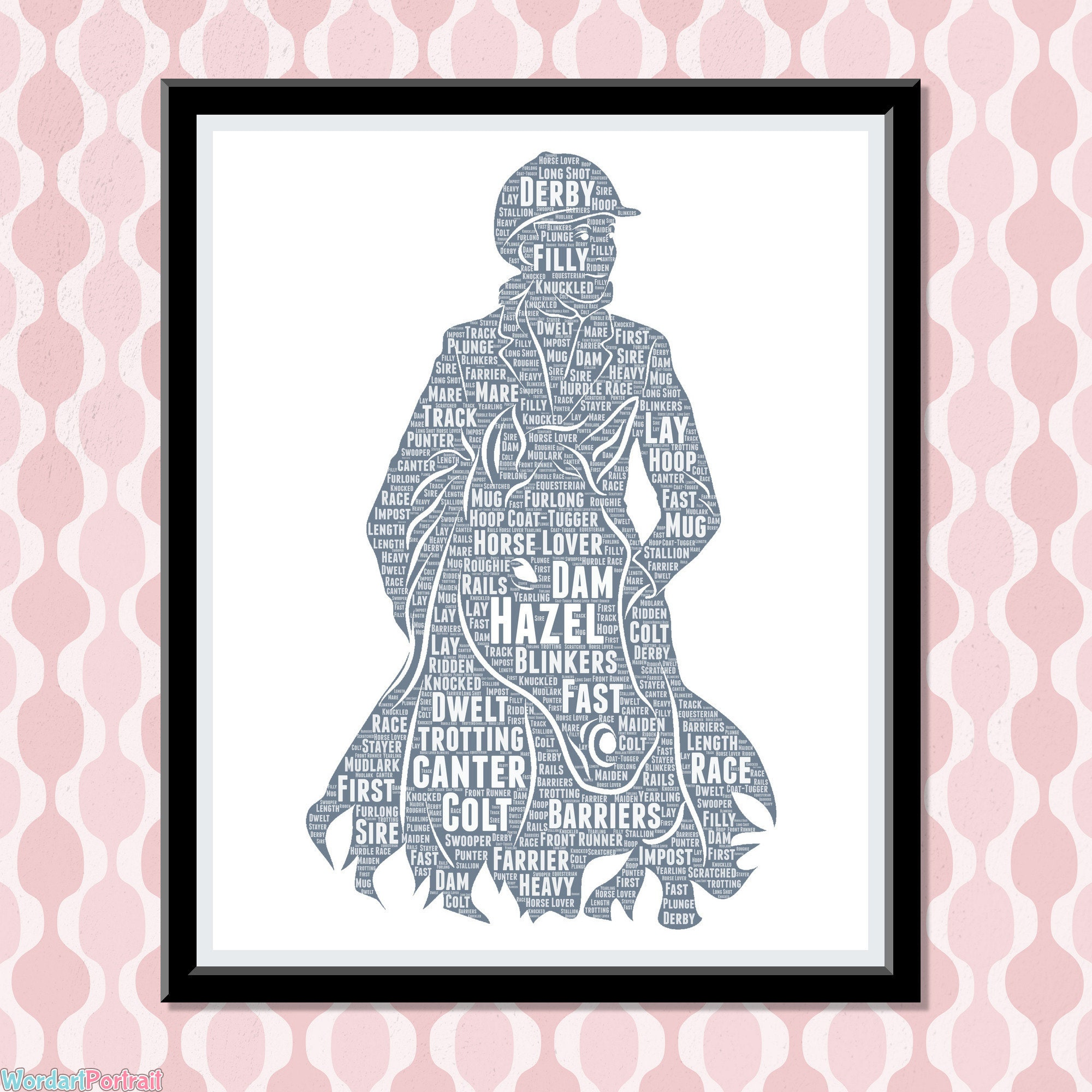 Personalized Gifts for Horse Lovers- Horse Rider Gift- For Equestrian Horse Riding- Enthusiast - Showjumping Dressage Gift Wordle Word Art