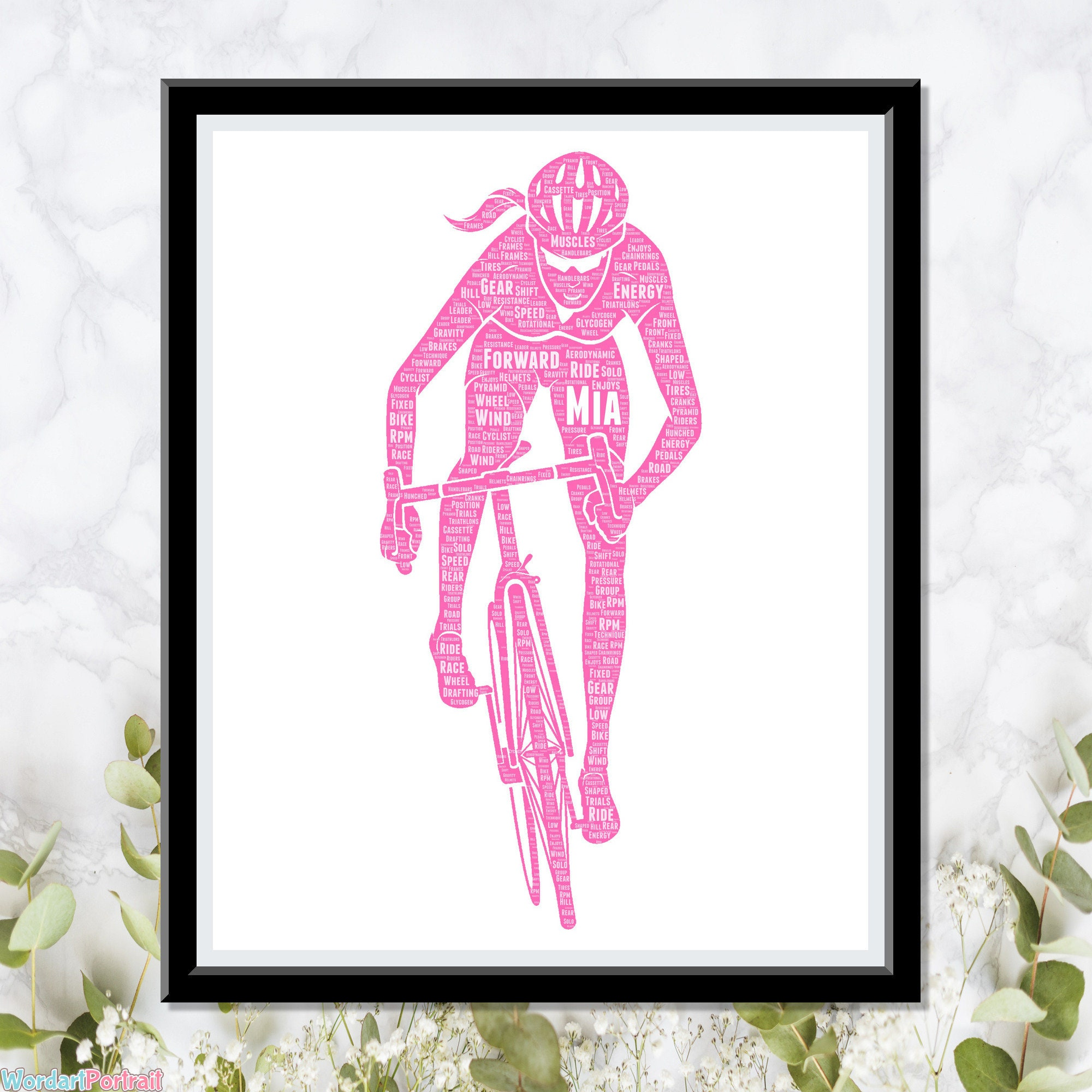 Female Cyclist Personalized Gift- for Her Girl Cycle - Racing Bicycle Gifts- Daughter Sister Girlfriend For Her Gifts Wordle Word Art Cloud