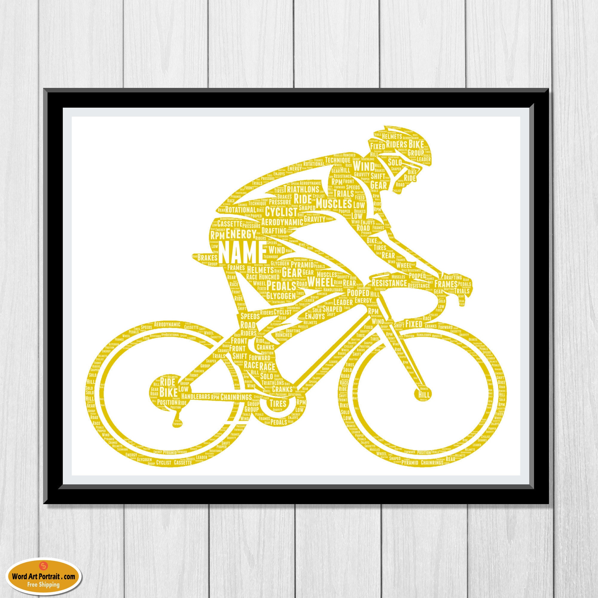 Cycling Gifts Personalized - Gifts For Bike Riders Cyclists - Road bi cycle Gifts - For Son- Dad- Uncle Brother Husband - Word Cloud Wall Art