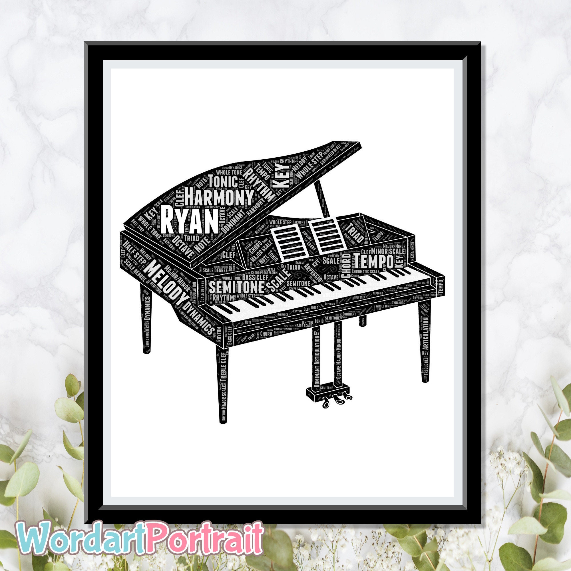 Personalized Grand Piano - Gift For Pianist - Piano Gift Word Art - Wall Room Decor Prints - Word Art Portrait - Custom Piano Print