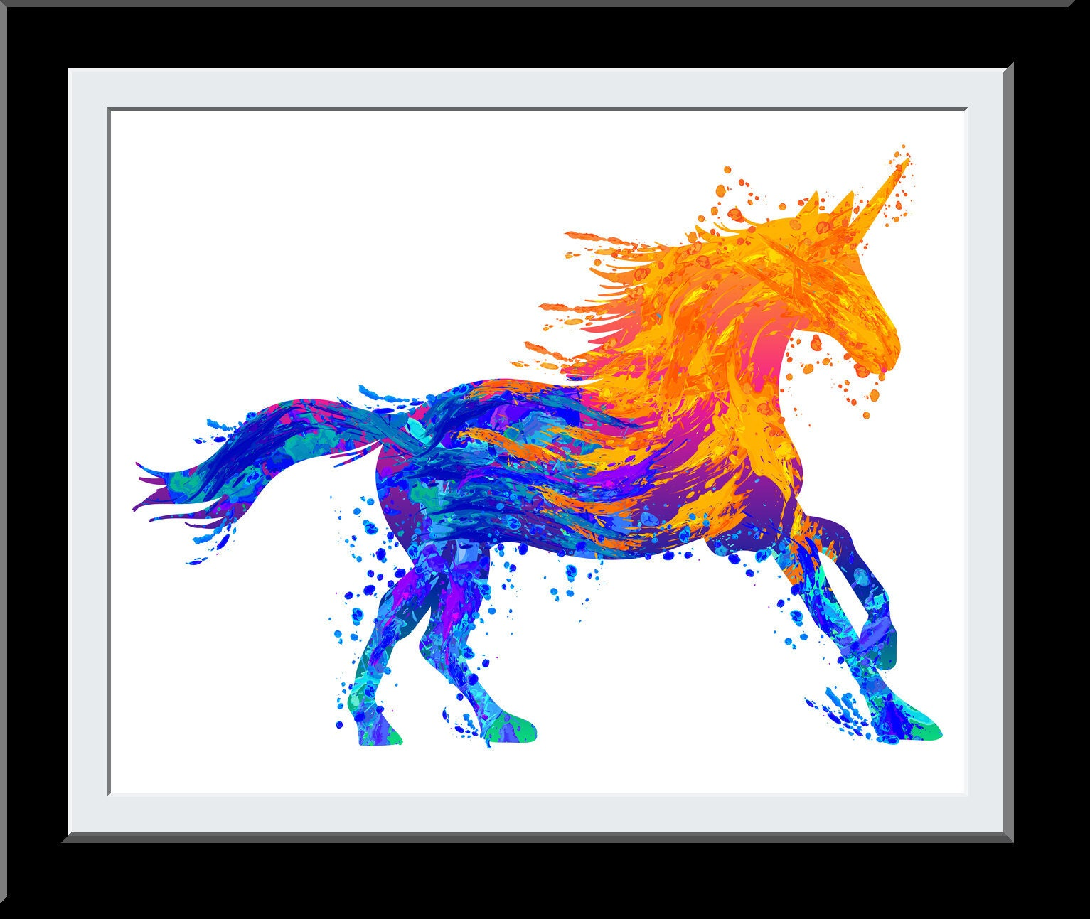 Beautiful Bedroom Unicorn Décor - Gift for Daughter - Unicorn WaterColor Print - Fire+Water Elemental Digital Painting - Gift for Girls