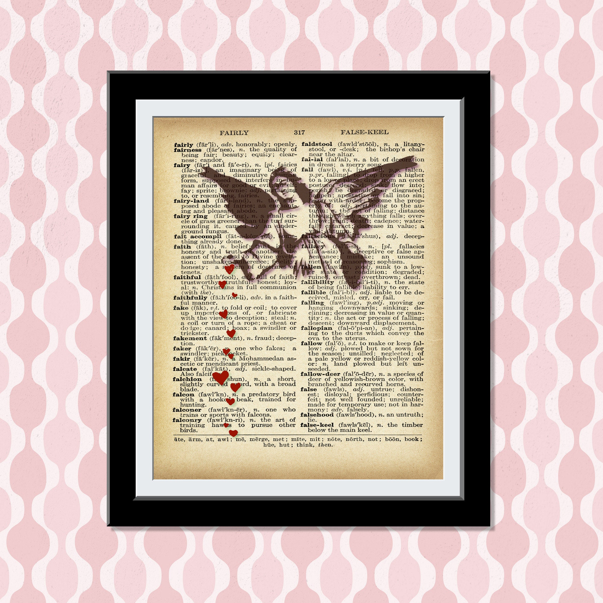 Banksy Wall Art -Dictionary Art Banksy Print- Angel showering love Red hearts- boy playing with toy medical super hero Vintage Wall Decor
