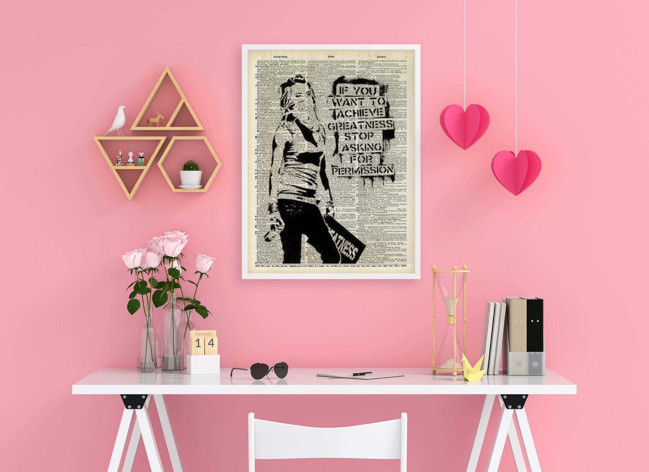 Banksy Wall Art - Dictionary Art - Banksy Print Vintage Wall Decor - If you want to succeed- do not wait for any permissions