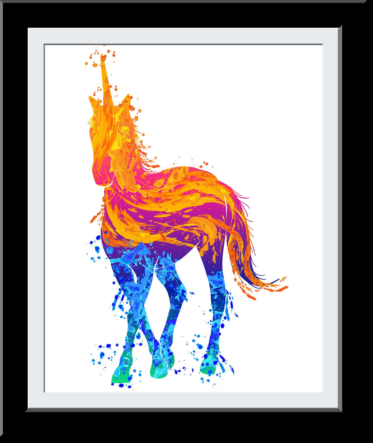 Unicorn WaterColor Print - Unicorn Gift - Bedroom Décor- Fire+Water Elemental Digital Gift for Girls - Nursery Deor Wall Art
