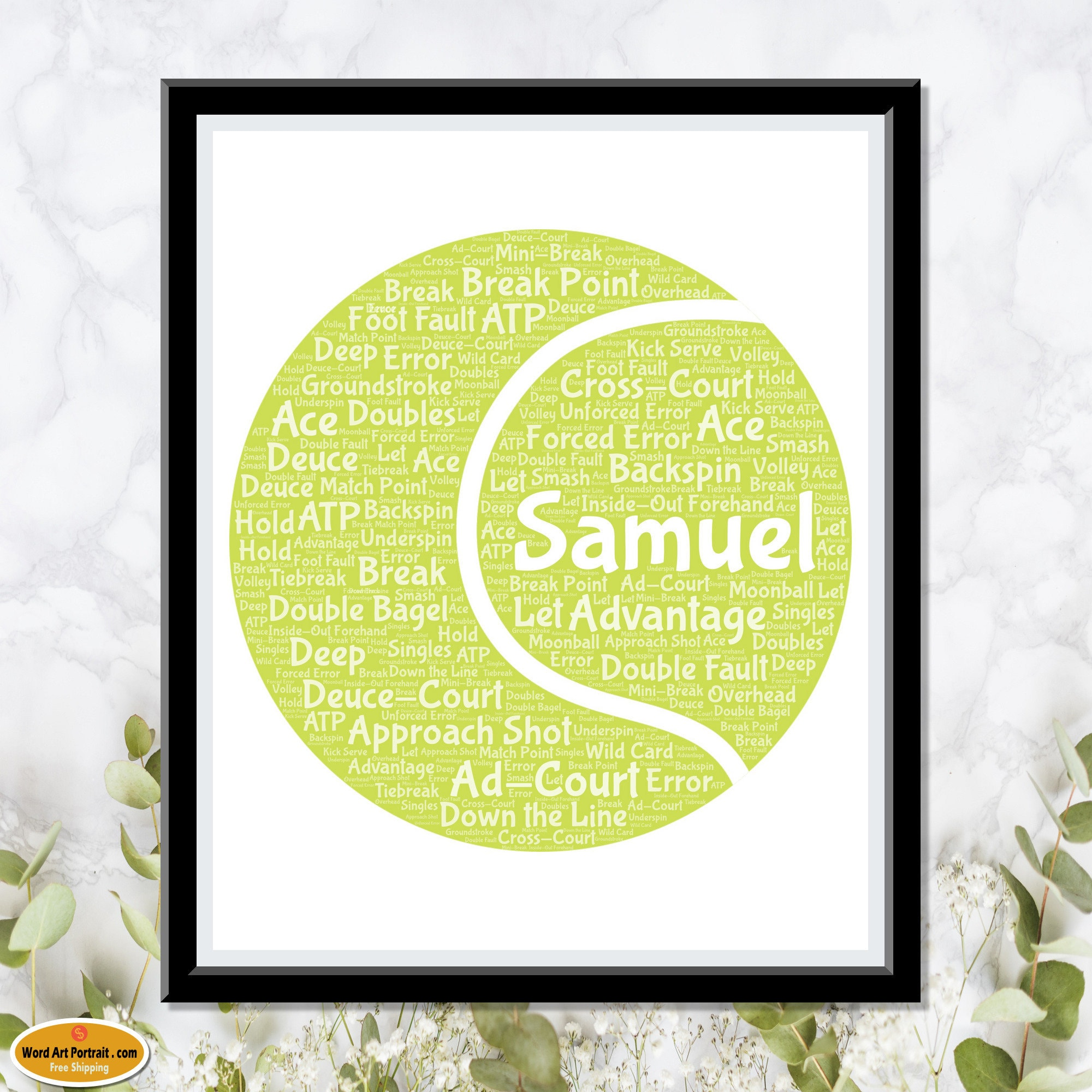 Personalized Tennis ball Gifts - Football Wall Art Decor - For Him- For Her