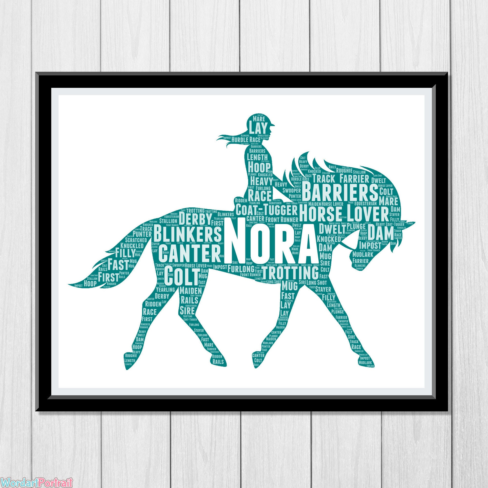 Horse Gift - Personalize Gift for Horse Rider - Dressage Showjumping Event Equestrian Gifts Horse Lover Owner Horse Rider Wordle Wall Print