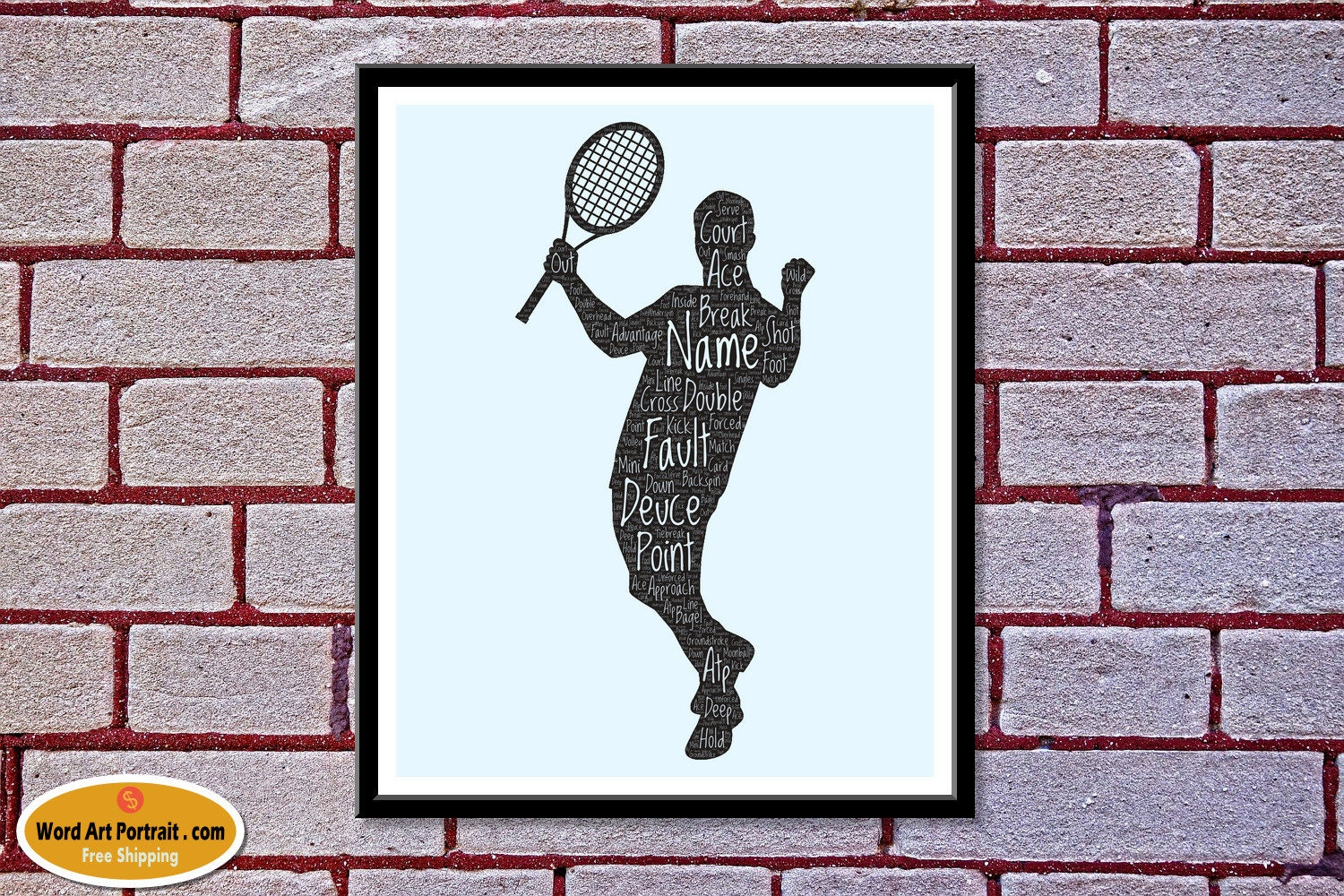 Personalized Tennis wall art - Gift for Brother - Tennis word art -- Father- Son - Man playing Tennis Word Art as Wall Decor