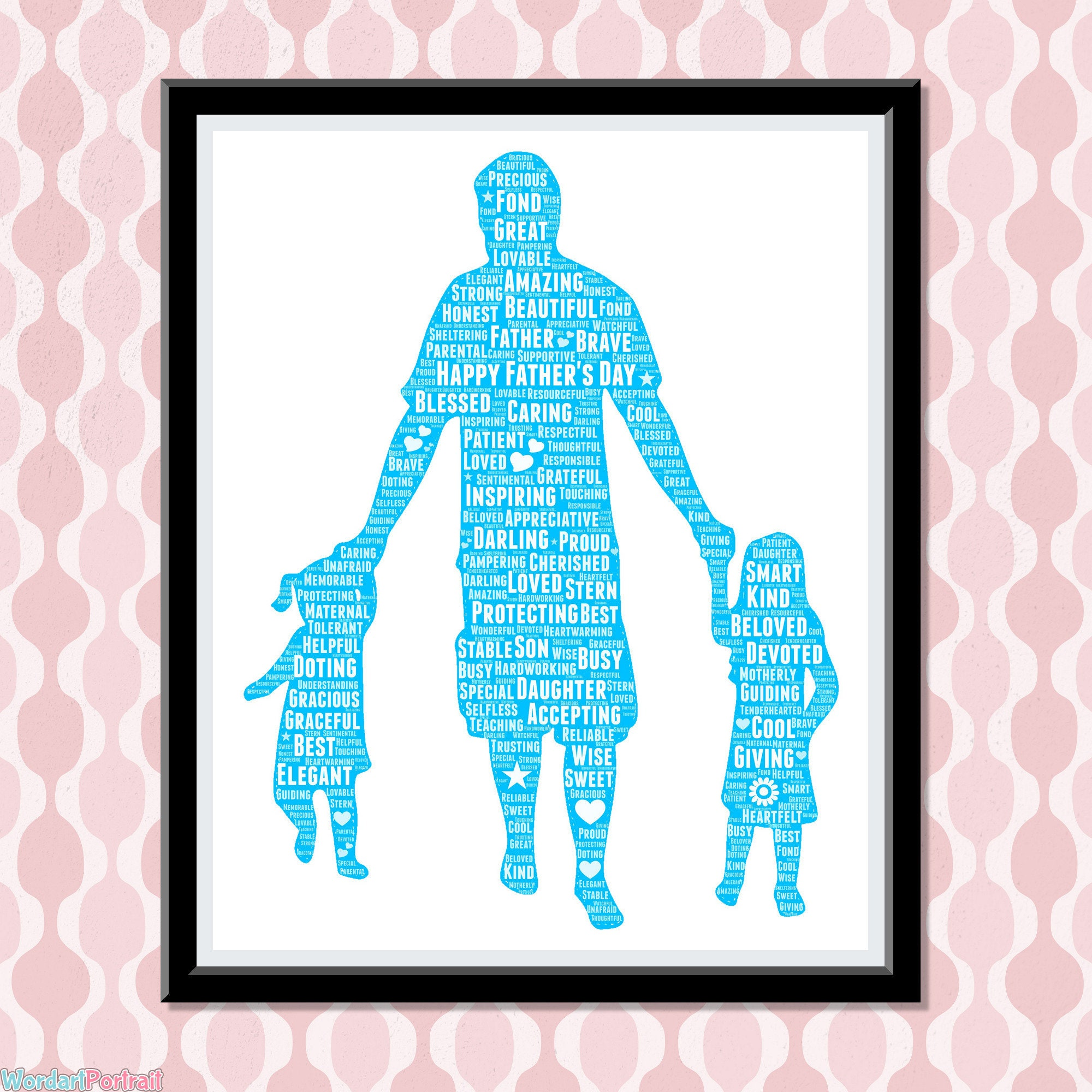 Personalised Fathers Day Gift - Dad with Two Daughters- Personalized Wordle Word Art Print for Dad from Wife Gift from Mom to Daddy son