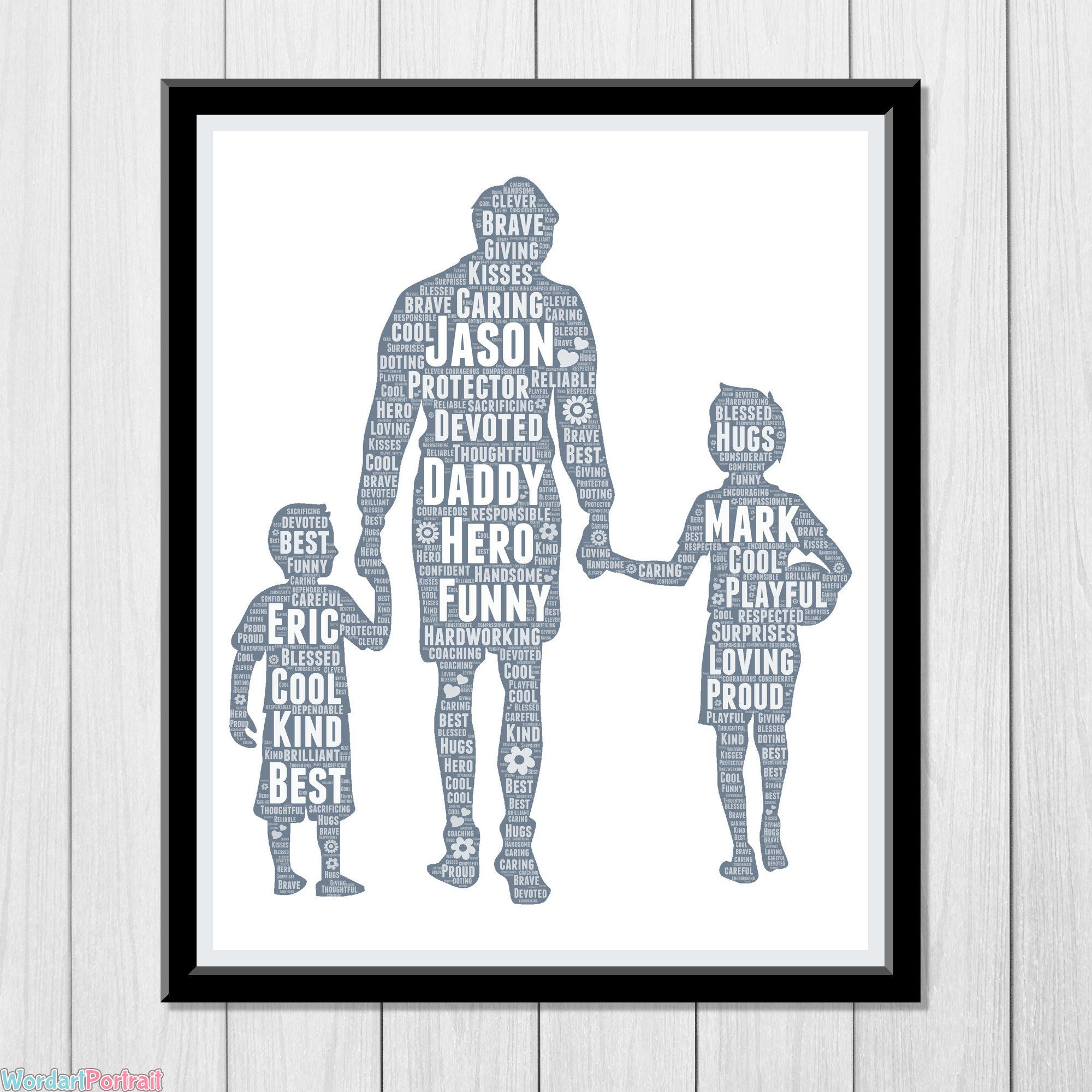Happy Fathers Day Gift - Dad with Two Sons- Kids Personalized Word Art Print for Dad Gift from Wife Gift from Daughter - Custom Wall Decor