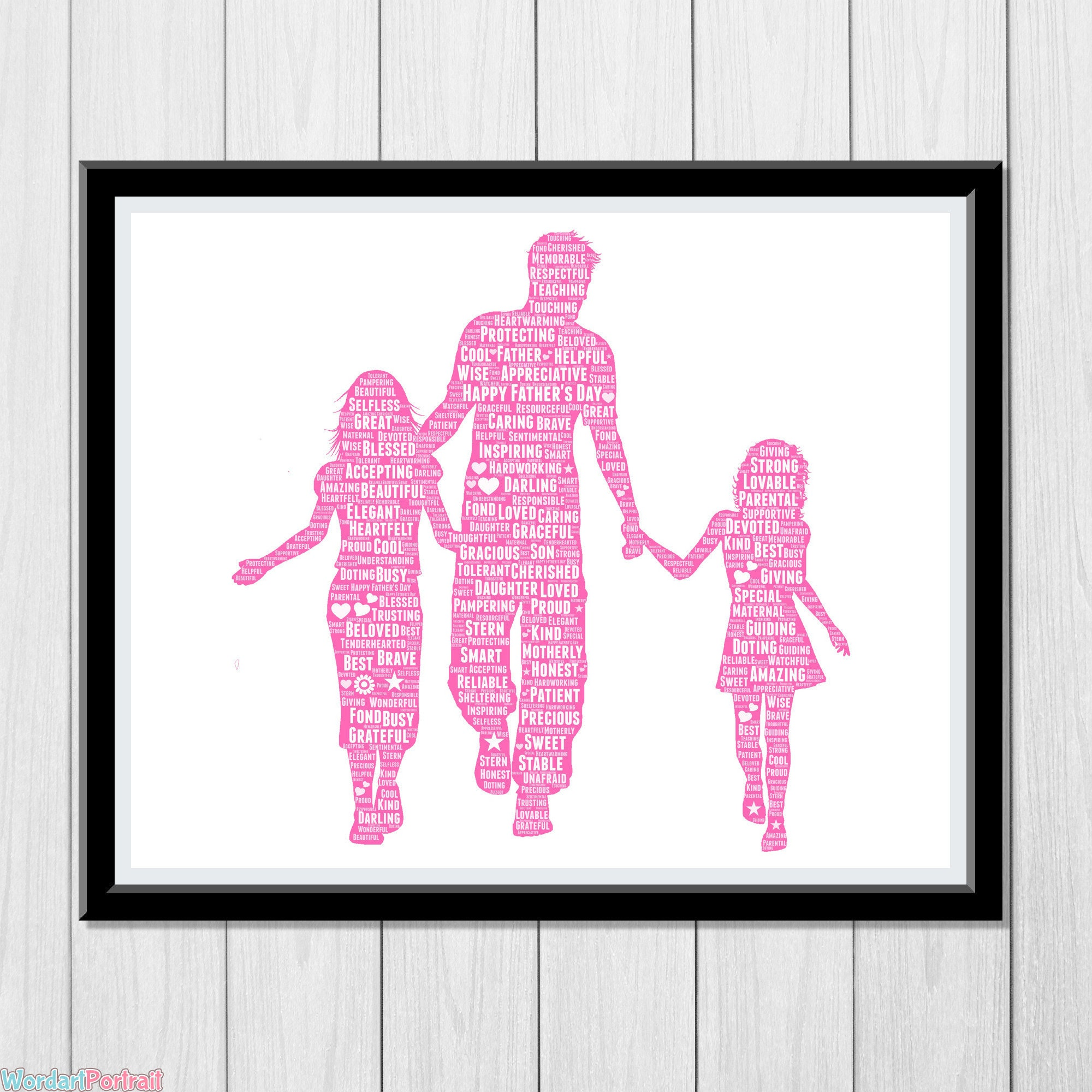 Happy Fathers Day Gift - Dad with Two Daughters - Personalized Word Art Print for Dad Gift from Wife Gift from Daughter - Custom Wall Decor
