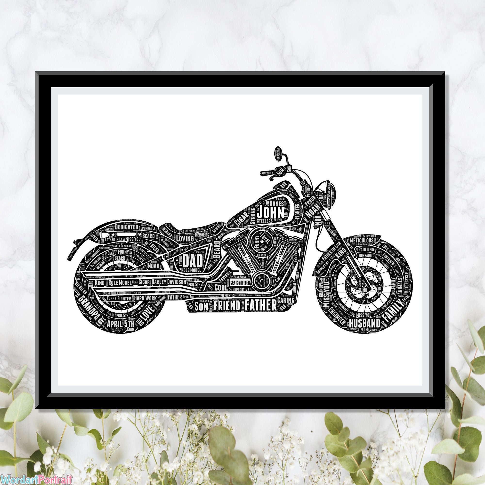 Harley Davidson Gift- Harley Davidson Print- Motorcycle Personalize Gift - Picture Wall Art Print - Dad Gifts For Him Rider Racer Word Cloud