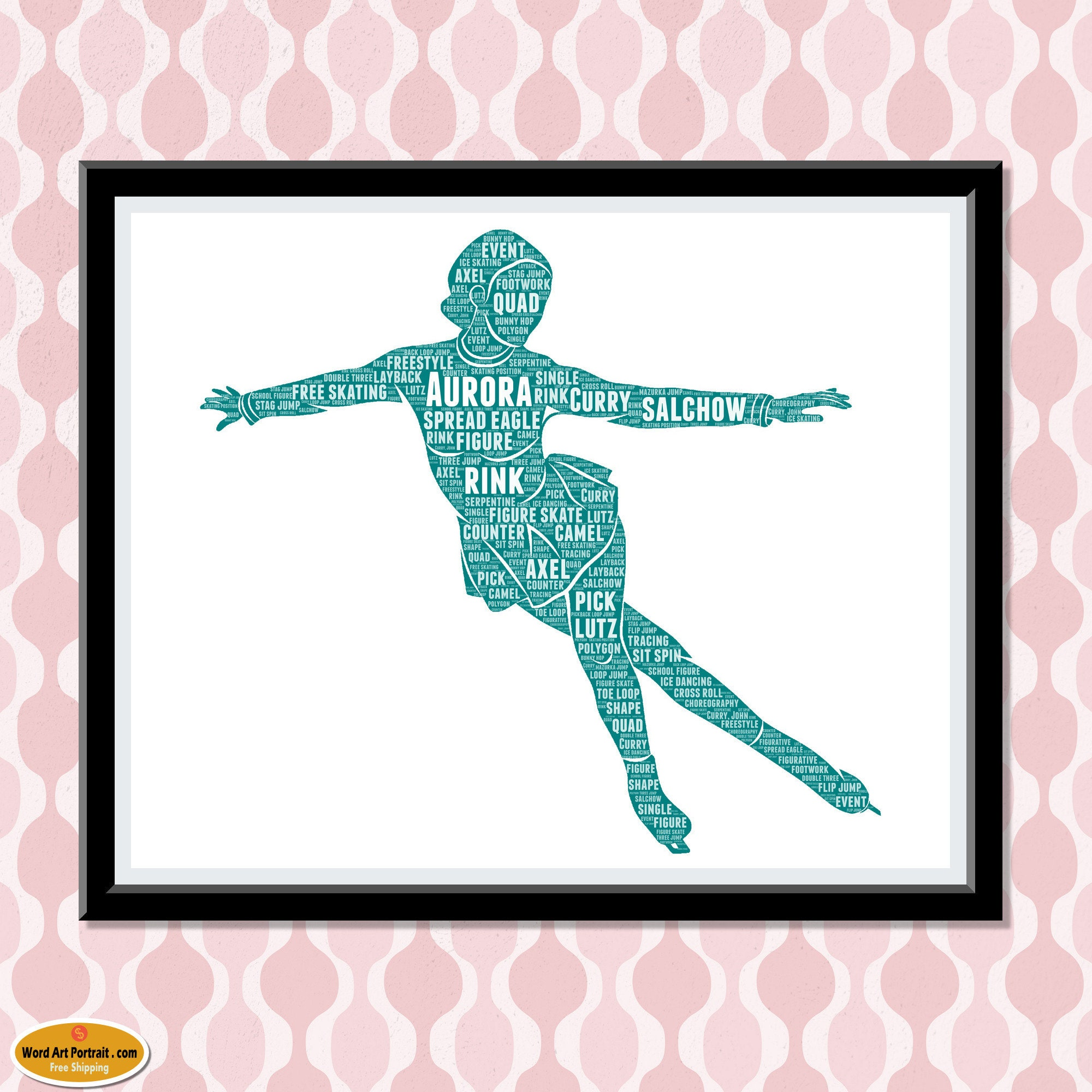 Personalized Figure Skating Gift - Gift for Ice Skaters - Skating Gifts For Daughter - Sister Girlfriend Word Cloud Art Wall Room Prints