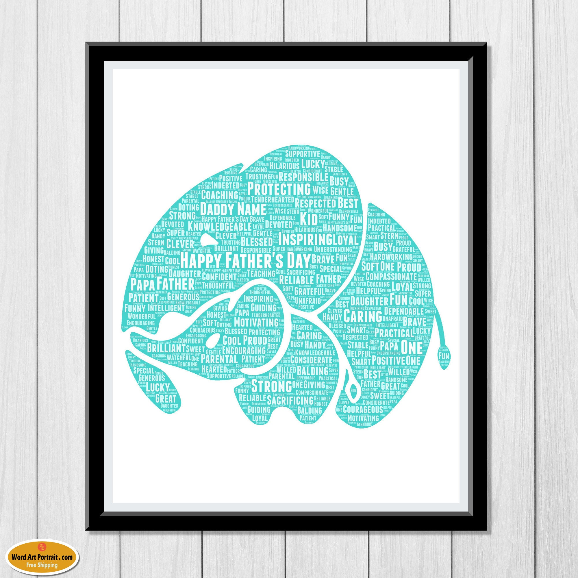 Personalized Elephant and Baby - Fathers Day Gift - Personalised fathers day gifts - Gift for Dad - Gift from Daughter - Custom Wall Decor