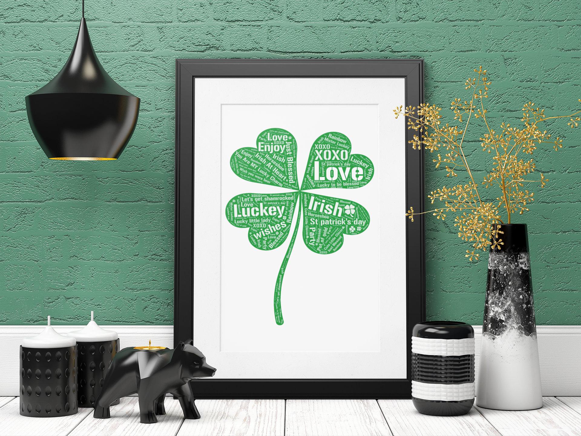 St Patricks Day Decor- St Patricks Day Word Art- Personalized Clover