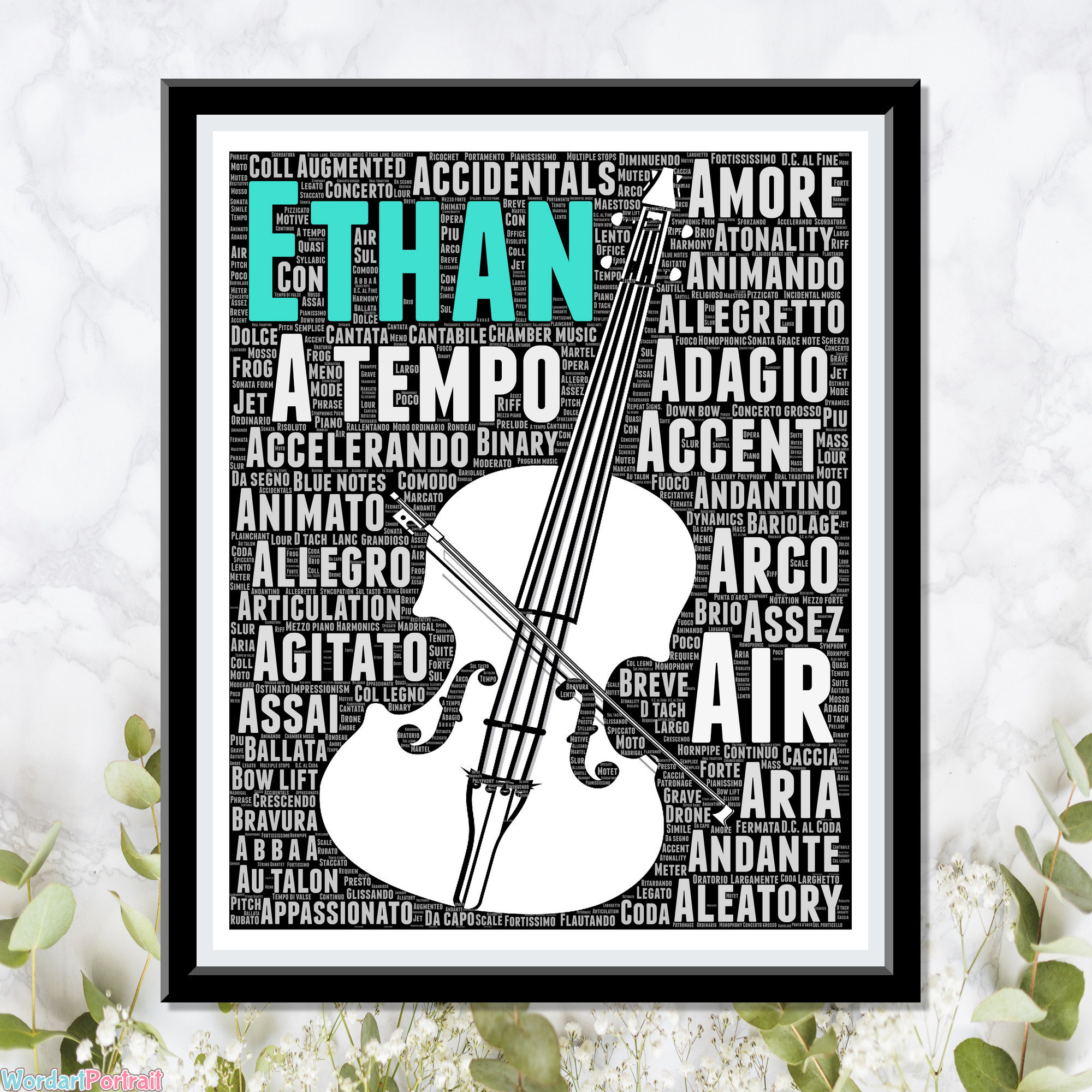 Personalize Cello Musical Gifts - Gifts for Son Daughter - Birthday Gifts for him her- Decorate Bedroom Kids - Christmas Wall Decor Cello Word Cloud