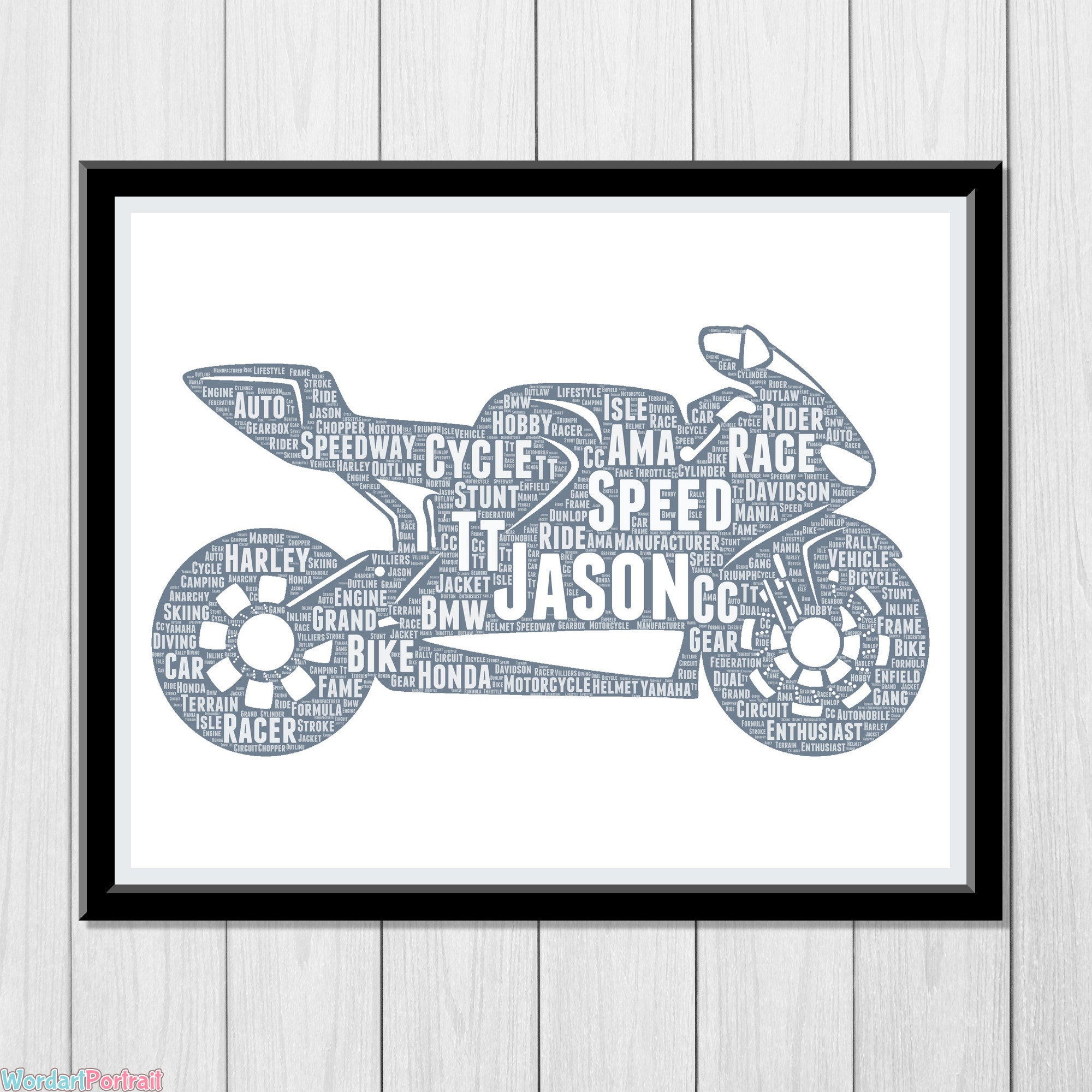 Personalized Motorcycle Gift - Biker Wall Art Print - Dad Gifts For Him - Motorbike Rider Racer Gift Motorcycle Club Ride Word Art Print Wordle