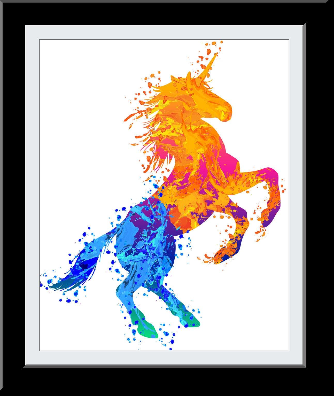 Beautiful Unicorn Gift - Standing Unicorn WaterColor Print - Fire+Water Elemental Digital Painting - Gift for Girls - Nursery Decor Wall Art