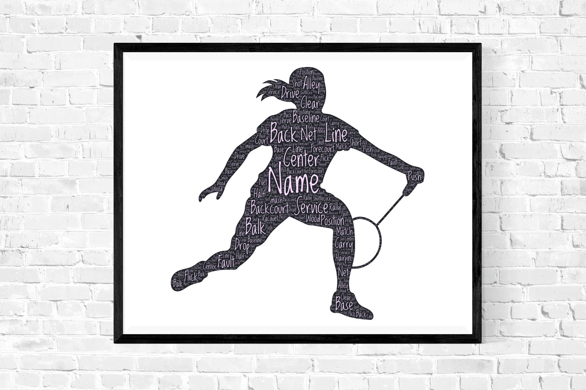 Badminton Personalized Wall Art - Female Badmintion Gift - Girl Word Cloud Typography - Gifts for Daughter Mother Sister Wife Girlfriend - Personalized